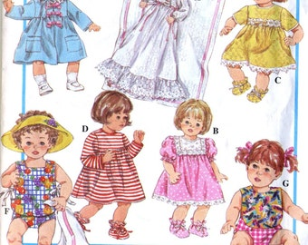 """Simplicity 8796 UNCUT 12-22"""" Doll Clothing and Accessories Sewing Pattern - Dress, Coat, Christening Gown, Diaper, Pinafore Top and More"""
