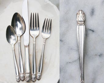 1 vintage silver plate place setting 1940s danish princess pattern wedding silverware flatware