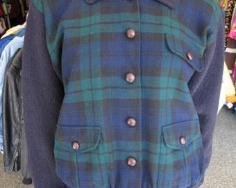 Vtg 80s Ralph Lauren Black Watch Plaid Wool Cardigan Jacket size M
