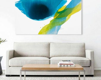 """Extra Large Original Abstract Painting, blue, yellow, green, 43x55"""" """"Deep Water - Converging Currents I"""" mid century inspired art, modern"""