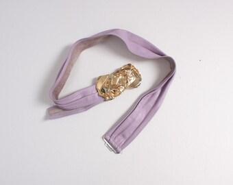 Vintage 80s Leather BELT / 1980s Adjustable Lavender Leather Waist Belt with Brutalist Gold Buckle