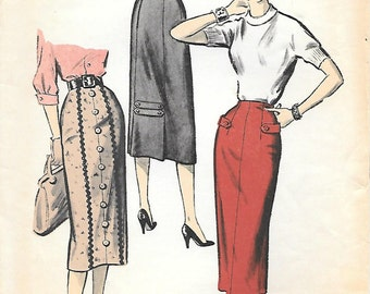 Advance 7909 1950s Wiggle Skirt Sewing Pattern Waist 24 Sew Easy Pattern