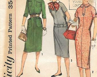 Simplicity 2610 1950s Teen Simple to Make Sack Dress Vintage Sewing Pattern Bust 29 or 33 Detachable Collar Tweens dress