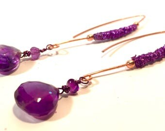 Long and Elegant Purple Fiber-wrapped copper with Dazzling AA+ Amethyst Pear Briolette Drop Earrings