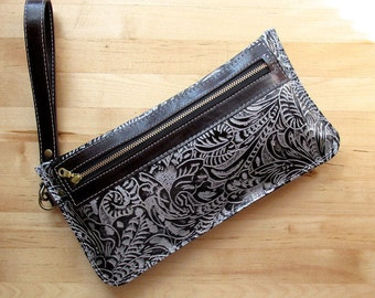 Embossed Leather clutch, iphone case, pouch, floral leather clutch, Black leather clutch bag, clutch purse