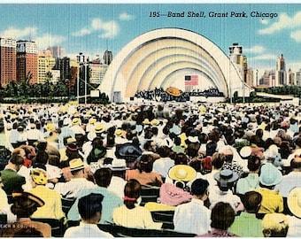 Vintage Chicago Postcard - A Concert in Grant Park (Unused)