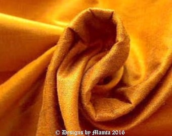 Goldenrod Indian Silk Fabric By The Yard, Iridescent Gold Dupioni Silk Bridesmaid Fabric, Dressmaking Fabric, Gold Dupion Silk Fabric