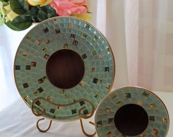 Set of 2 Vintage Round Mosaic Tile Dishes