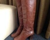 Vintage Chunky High Heel Boots Camel Brown Tall Boots Bohemian Boho US Women's 9 EU 39, UK 7