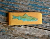 Fish Money Clip, Trout Fishing, Gift for Dad, Fisherman, Gift for Him, Rustic Groom Money Clip, Nautical Bass Money Clip, Father's Day
