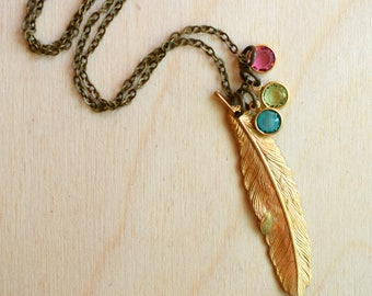 Feather Necklace, Gold Feather, Mama Bird Pendant, Birthstone Pendant, Woodland Necklace, Gift for Her, Gift for Mom, Personalized Pendant