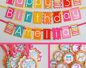 Puppy Birthday Party Decorations | Fully Assembled Decorations | Gold Sparkle Puppy Party | Girly Puppy Party | Dog Theme Pary | Dogs