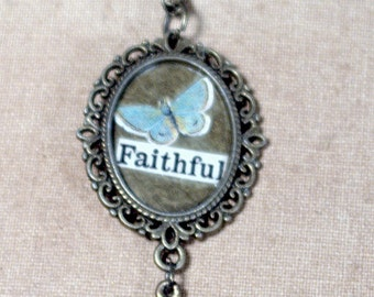 Butterfly Collage Necklace * vintage * antique gold * Christian * pendant