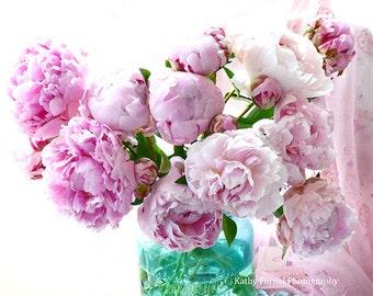 Peony Photographs, Shabby Chic Decor, Peony Wall Prints, Peony Prints, Watercolor Peony Art Prints, Pink Peonies, Peony Flower Photography