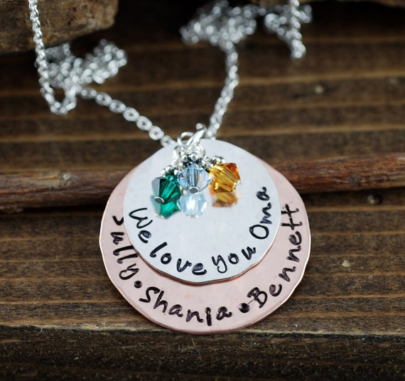 We Love you Oma, Hand Stamped Necklace, Personalized Jewelry, We Love You Grandma, Grandma Jewelry, Grandmother Necklace, Copper, Sterling