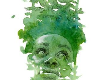 Playful Organics in Green - Giclée Fine Art Print