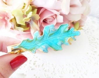 Verdigris Oak Leaf Tie Bar - Oak Leaf Tie Clip - Mens Tie Clip - Wedding Accessory - Groomsmen Leaf Tie Bar - Woodland Wedding - Autumn Leaf