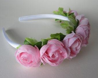 Mini pink rose tiara, bridal flower headpiece, flower girl, satin hair band