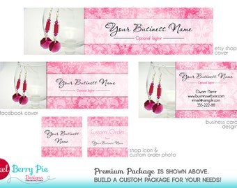 Pink PHOTO Etsy Banner / Cover - Personalized Pictures to Etsy Banner Set - Choose your package! [Damask design in custom colors]