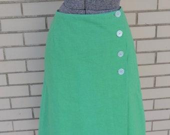 SALE 60s green wrap skirt, medium vintage skirt, 1960s A Line knee length skirt