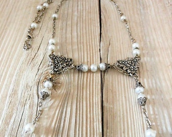 Antique Victorian Style Silver Filigree White Pearl Necklace, Vintage Style Wedding Jewelry, White Silver Bride Bridesmaid Flower Girl