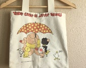 """Vintage 70s ZIGGY Canvas Tote / """"Take Care Of Little Things"""" Reusable Bag"""