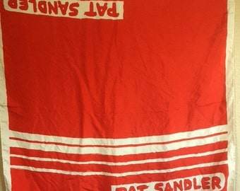 Vintage RARE Red And White PAT SANDLER Silk Scarf / 60s Designer Red White Striped Head Scarf