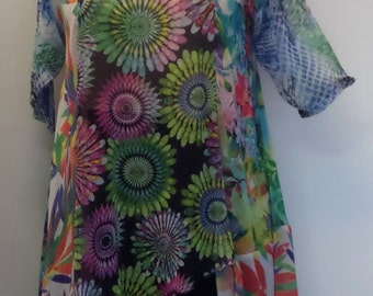 Coco and Juan, Plus Size Tunic, Women's Top, Asymmetric Tunic, Mixed Print Chiffon, Size XL (fits size 14/16)  Bust 45 inches
