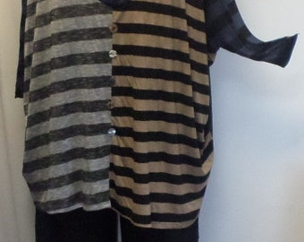 Tunic Plus Size, Plus Size Tunic Top, Coco and Juan, Top, Lagenlook, Mix Stripe Knit Tunic Top, #1 One Size Bust to 78 inches