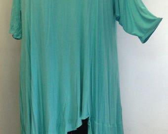 Coco and Juan, Plus Size Top,  Asymmetric Tunic, Womens Top, Turquoise Rayon Knit, Size 2 (fits 3X,4X) Bust 60 inches