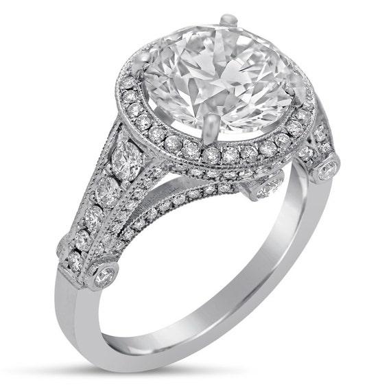 Round cut 9mm moissanite antique style diamond engagement ring 14k white gold