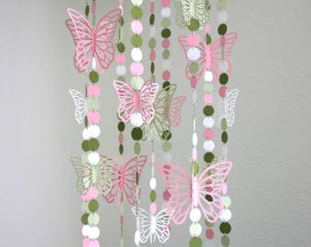 Butterfly Baby Mobile in Pink, Green and White