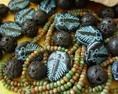 Czech Picasso Beads, Assorted Beads, Aged Picasso Seed Beads, Lava Beads+ (#1XB)