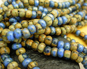 "Picasso Seed Beads, 2/0 Czech Seed Beads, Aged Picasso- Denim Striped Mix (1/9"") #801"