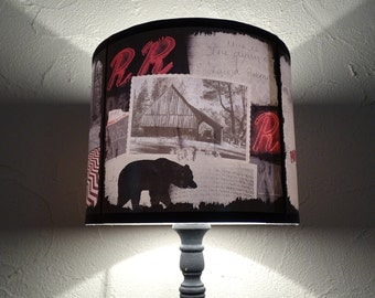 Twin Peaks inspired lampshade lamp shade - accent lampshade, gift for a geek, holiday decor, mountains, bear, art, wild west