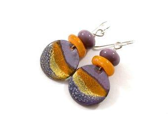 Sahara Desert Rustic Enamel Earrings, Boho Chic Earrings, Artisan Earrings, Tribal Earrings, Purple and Orange Earrings, Silver, AE217