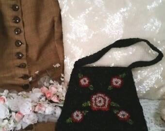 black beaded handbag, black beaded purse, rose beaded bag, small black bag, 90s does victorian, victorian bag