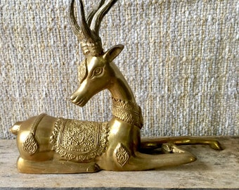 Vintage Brass Deer Stag Figure Decoration Decor SALE