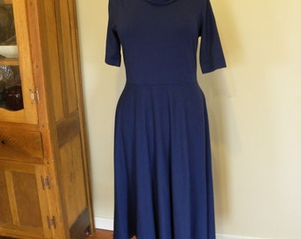 Sale Large Blue Womens Organic Cotton Jersey Knit Dress Made in the USA