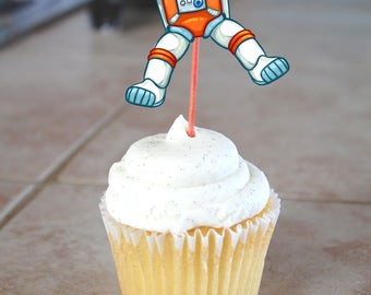 Out of This World Space Astronaut Photo Cupcake Toppers - Printable File