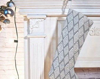 Boho Christmas Stocking // Modern Christmas Geometric // Christmas Decorating // Stocking // Diamond In The Rough Design // Grey // Tribal