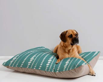 Modern Polka Dot Dog Bed // Pet Bedding // Animal Pillow // Pet Cushion // Aqua Teal Turquoise // Bestrewn Design // Dog Bed // Dog Pillow