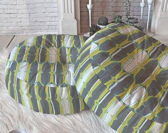 Gray Geometric Floor Pillow // Round & Square // Midcentury Modern Living // Dorm Decor // Home Decor // Floor Cushion // Lofty Idea Design