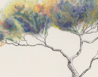 Original tree painting ~ oil pastel and ink; A4 paper; horizontal