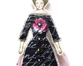 Fun Lady Flat Doll Ornament With A Large Berry Plume Handmade Fabric Doll Decoration Embellished  Textile Art Doll Fabric Ornament