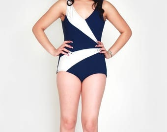 Vintage 1950s Swimsuit / 50s Pinup Swimsuit / Nautical