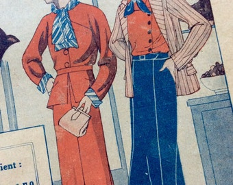 1930's French Art Deco Romance Magazine:  Fabulous Cover Art, R