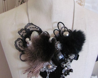 Necklace Beautiful Black Suede Leather and Mink Assemblage Necklace