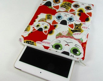 iPad mini Padded Sleeve (for iPad mini 2, 3, 4) - Lucky Cat **handmade**