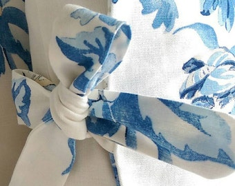SALE  only One Handmade white and blue Linen fabric Tied Pillow Cover